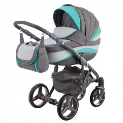 Pomarańczowo-szary ADAMEX BARLETTA NEW 3w1 Wózek dziecięcy wielofunkcyjny