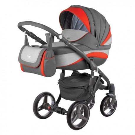 Szaro-czerwony ADAMEX BARLETTA NEW 3w1 Wózek dziecięcy wielofunkcyjny