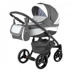 Szaro-biały  ADAMEX BARLETTA NEW 3w1 Wózki dziecięce wielofunkcyjne