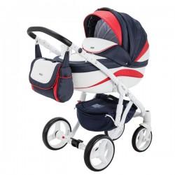 Granatowo-czerwony ADAMEX BARLETTA NEW 3w1 Wózek dziecięcy wielofunkcyjny