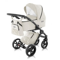 Kremowy w kremowe romby wózek dziecięcy Modern Milu Kids zestaw 3w1