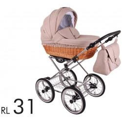 Wózek dzieciecy Retro Len Lonex 3w1  fotelik+ folia przeciwdeszczowa+ moskitiera+ uchwyta na kubek