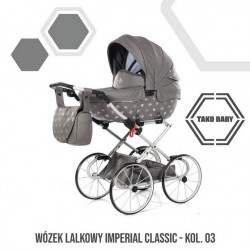 Przepiękny wózek dla lalek Tako Imeprial Mini Classic!! szary wózek dla lalek