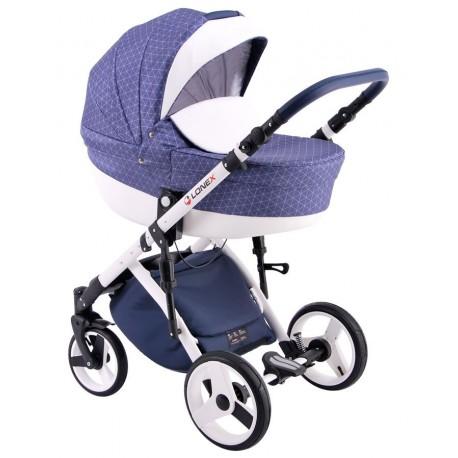 Niebieski w kratkę wózek dziecięcy wielofunkcyjny Comfort LONEX 3w1