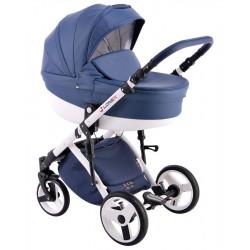 Niebieski wózek dla dziecka COMFORT ECO 3w1 firmy Lonex
