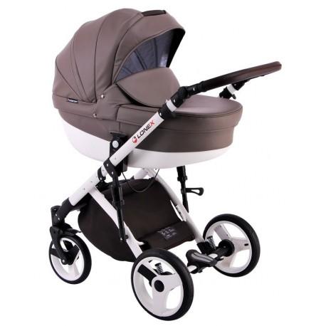 Brązowy wózek dla dziecka COMFORT ECO 3w1 firmy Lonex