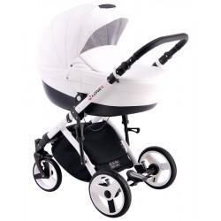 Biały wózek dla dziecka COMFORT ECO 3w1 firmy Lonex