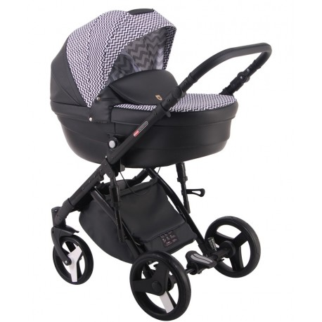 Czarny z biało czarnym wzorem Comfort Galaxy wózek dziecięcy wielofunkcyjny LONEX 3w1
