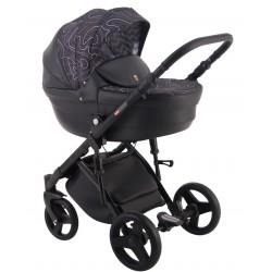 zarny z ciemnym wzorem Comfort Galaxy wózek dziecięcy wielofunkcyjny LONEX 3w1