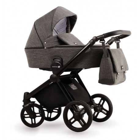 Ciemno szary wózek dziecięcy wielofunkcyjny Emotion XT Lonex zestaw 3w1