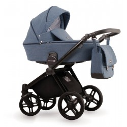 Niebieski wózek dziecięcy wielofunkcyjny Emotion XT  Lonex zestaw 3w1