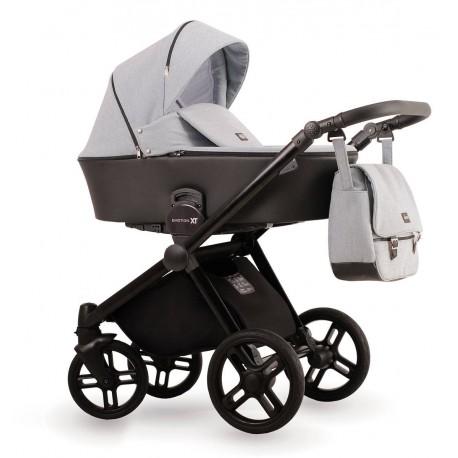 Szary wózek dziecięcy wielofunkcyjny Emotion XT  Lonex zestaw 3w1