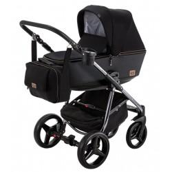 Wózek dziecięcy Reggio Special Edition Adamex wielofunkcyjny 3w1 czarno - srebrny