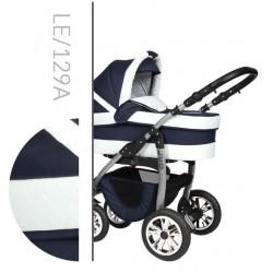 Leo Baby Merc tani nowoczesny wózek dziecięcy wielofunkcyjny 3w1 biało granatowy