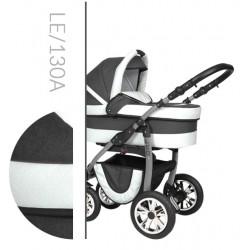 Leo Baby Merc tani nowoczesny wózek dziecięcy wielofunkcyjny 3w1 biało-szary
