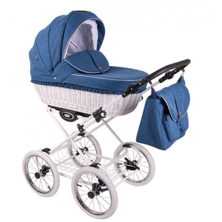 Wózek dzieciecy Retro Len Lonex 3w1 niebieski na białym stelażu