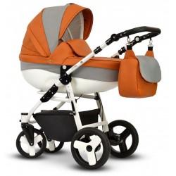 Wózek dziecięcy Cosmo EKO MIX pomarańczowy Vega stelaż + gondola