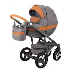Szaro-pomarańczowy Monte deluxe carbon wózek dziecięcy wielofunkcyjny Adamex zestaw 3w1