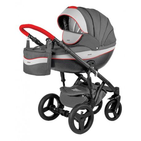 Szaro-czerwony Monte deluxe carbon wózek dziecięcy wielofunkcyjny Adamex zestaw 3w1