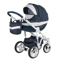 Granatowy Monte deluxe carbon wózek dziecięcy wielofunkcyjny Adamex zestaw 3w1