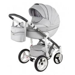 Popielaty Monte deluxe carbon wózek dziecięcy wielofunkcyjny Adamex zestaw 3w1