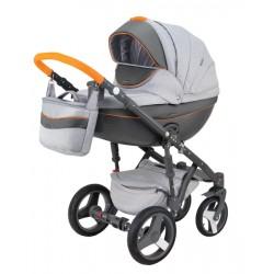 Popielato pomarańczowy Monte deluxe carbon wózek dziecięcy wielofunkcyjny Adamex zestaw 3w1