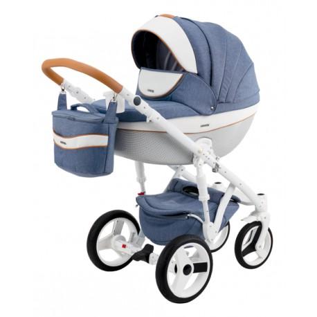 Niebiesko-biały Monte deluxe carbon wózek dziecięcy wielofunkcyjny Adamex zestaw 3w1