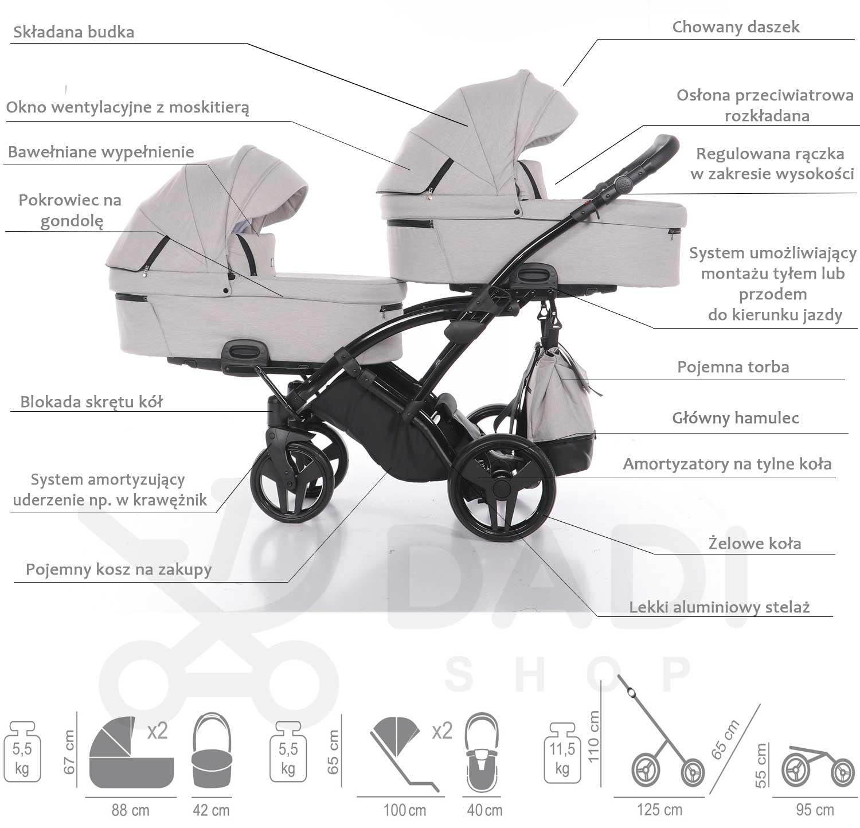 Artemo Duo Slim wózek bliźniaczy wielofunkcyjny Tako specyfikacja wózka Dadi Shop