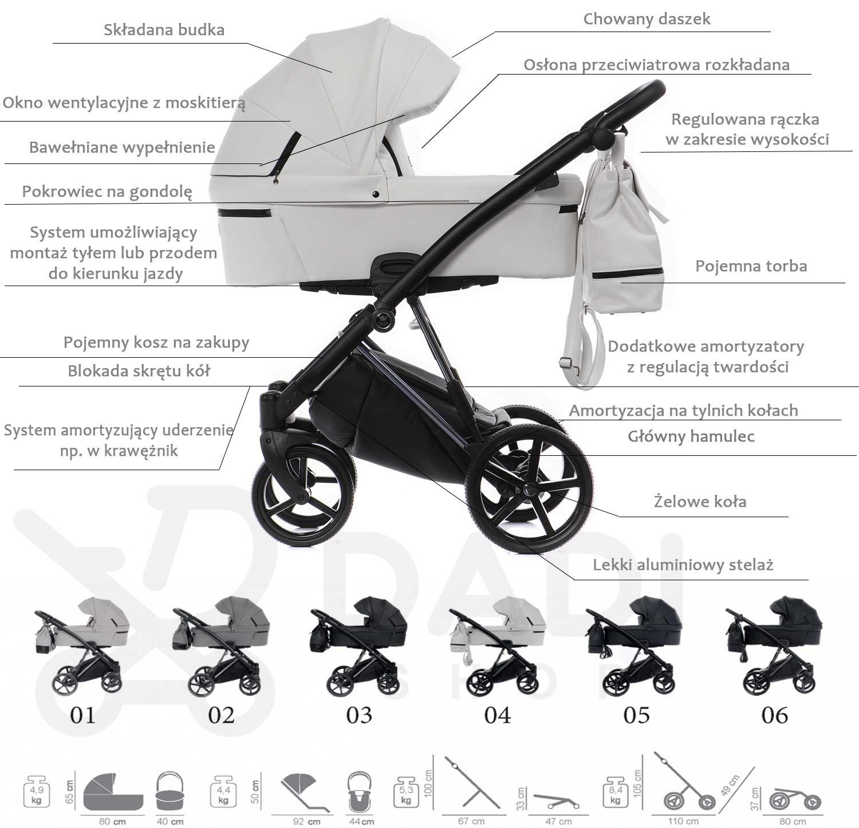 wózek Tako Artemo dziecięcy wielofunkcyjny specyfikacja wózka Dadi Shop opis