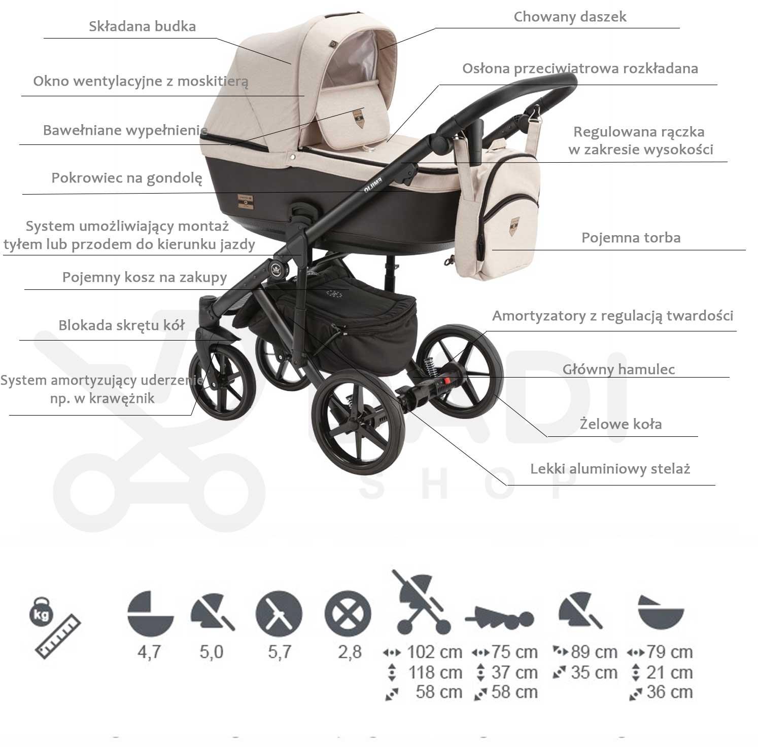 wózek Emilio Adamek dziecięcy wielofunkcyjny opis