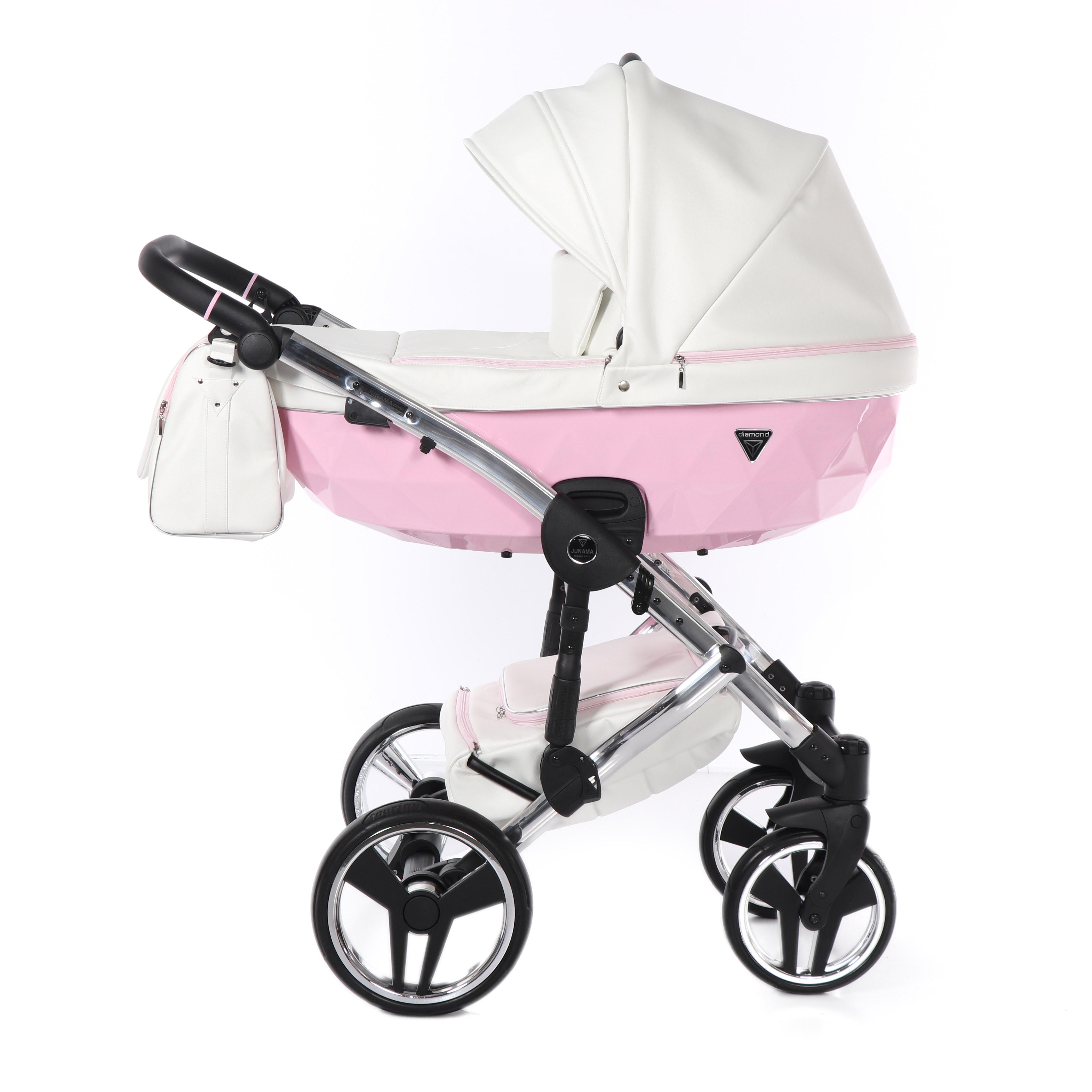 Junama Candy gondola Dadi Shop wózek dziecięcy wielofunkcyjny elegancki różowy eco skóra