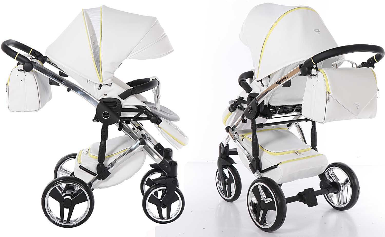 Candy Junama wózek dziecięcy wielofunkcyjny spacerowy Dadi Shop nowoczesny eco skóra biały żółty