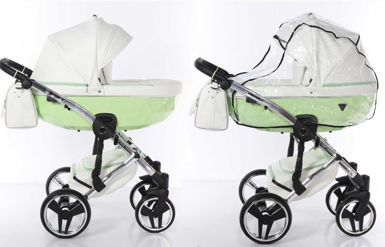wózek Candy Junama dziecięcy wielofunkcyjny elegancki Dadi Shop zielony biały eco skóra nowość
