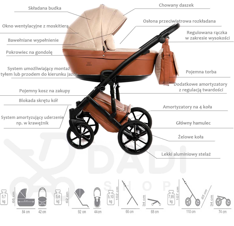 wózek Corona Lite Tako dziecięcy wielofunkcyjny nowoczesny opis Dadi Shop