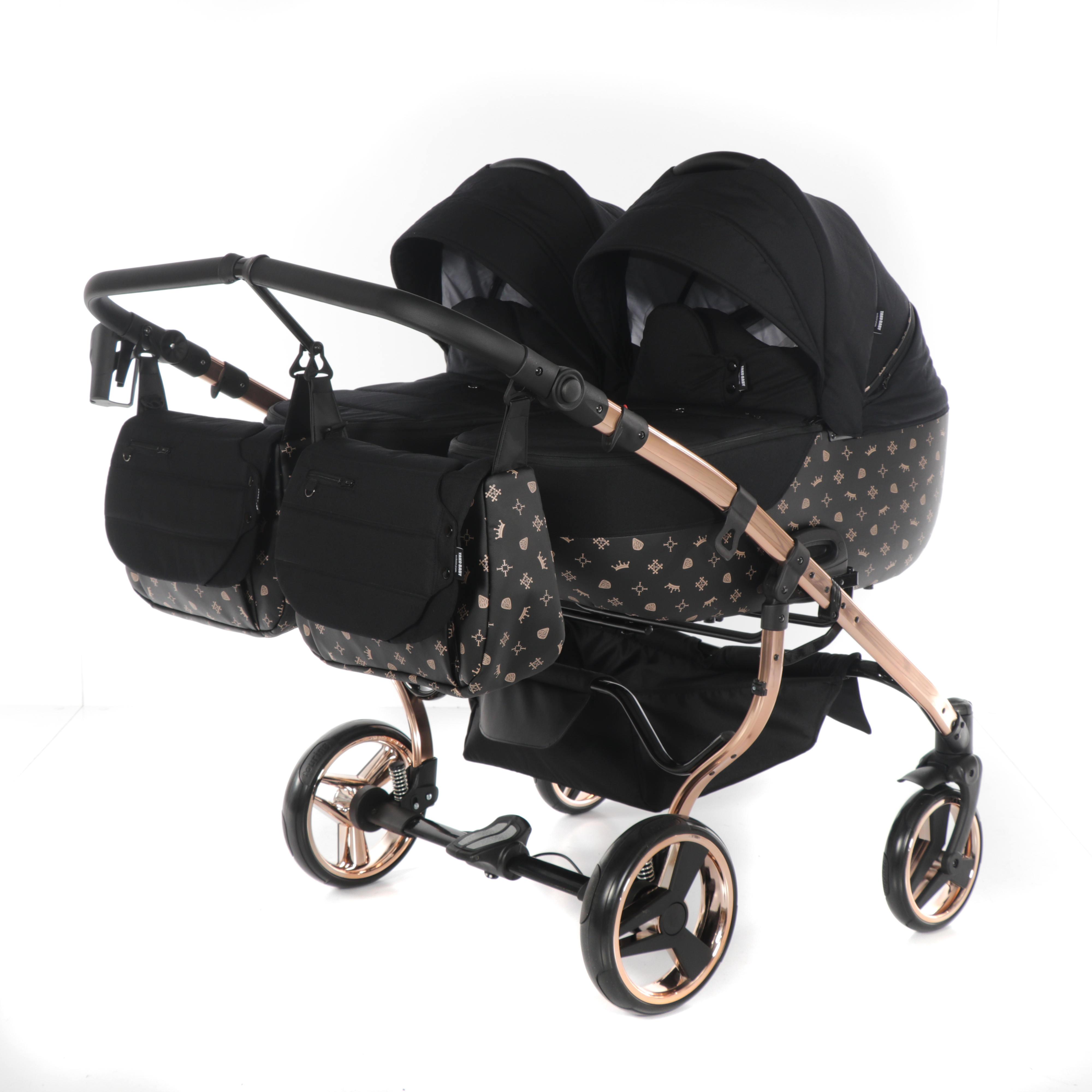 wózek blixniaczy Laret Imperial Duo wielofunkcyjny Tako elegancki nowoczesny wózek czarny Dadi Shop