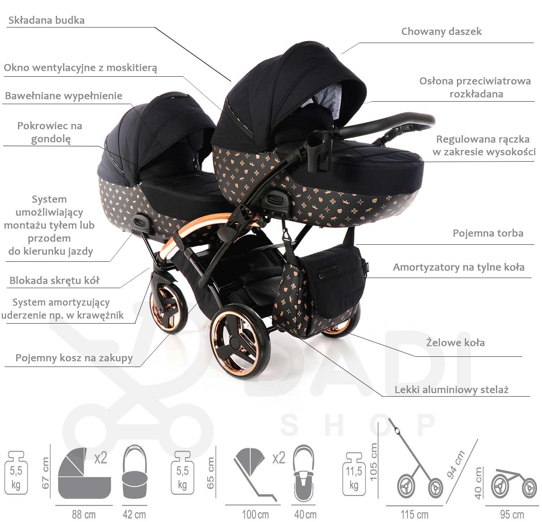 wózek bliźniaczy Imperial Laret Duo Tako wielofunkcyjny dzieciecy Dadi Shop specyfikacja opis