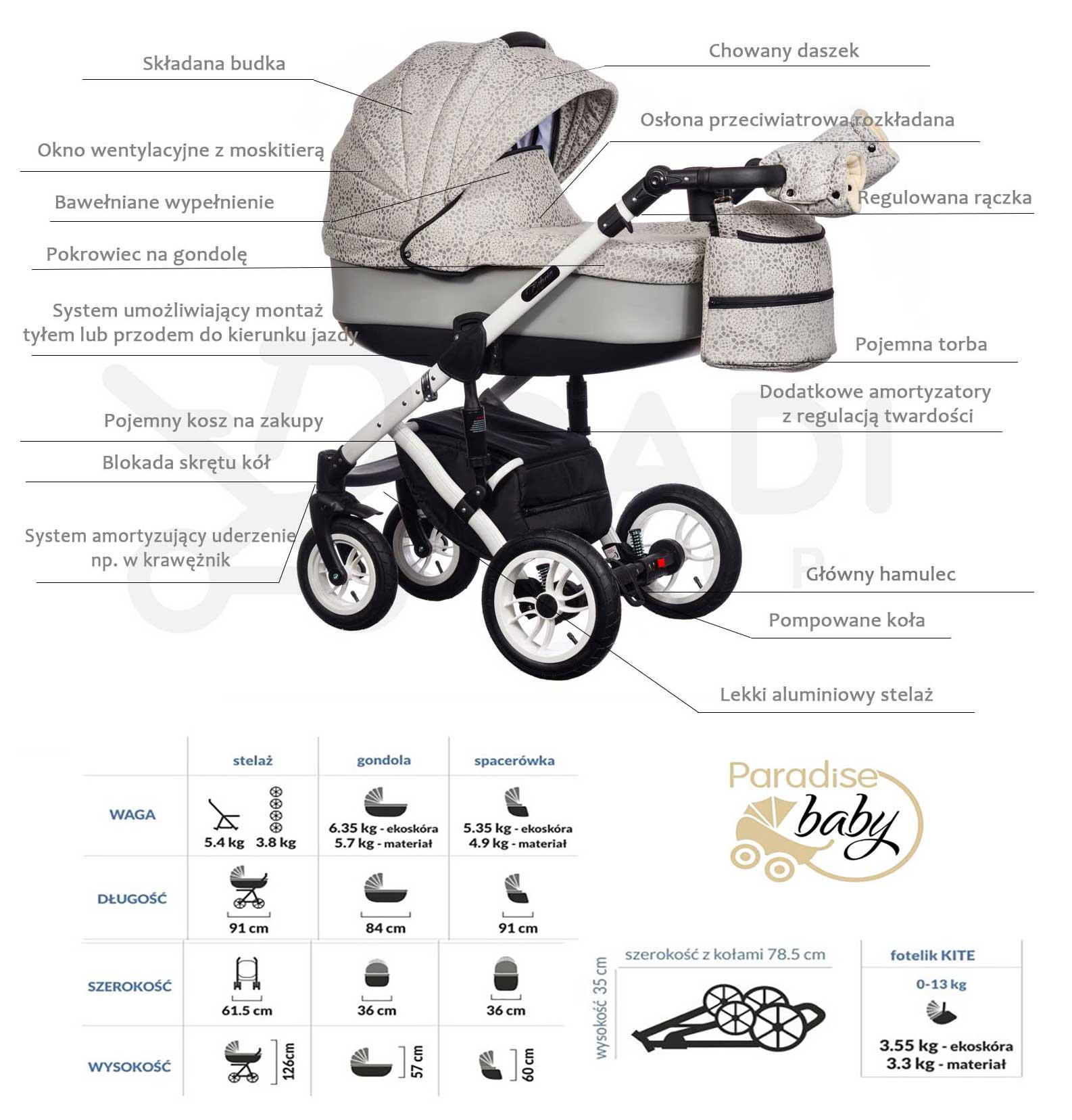 wózek Euforia Paradise Baby dziecięcy wielofunkcyjny opis Dadi Shop