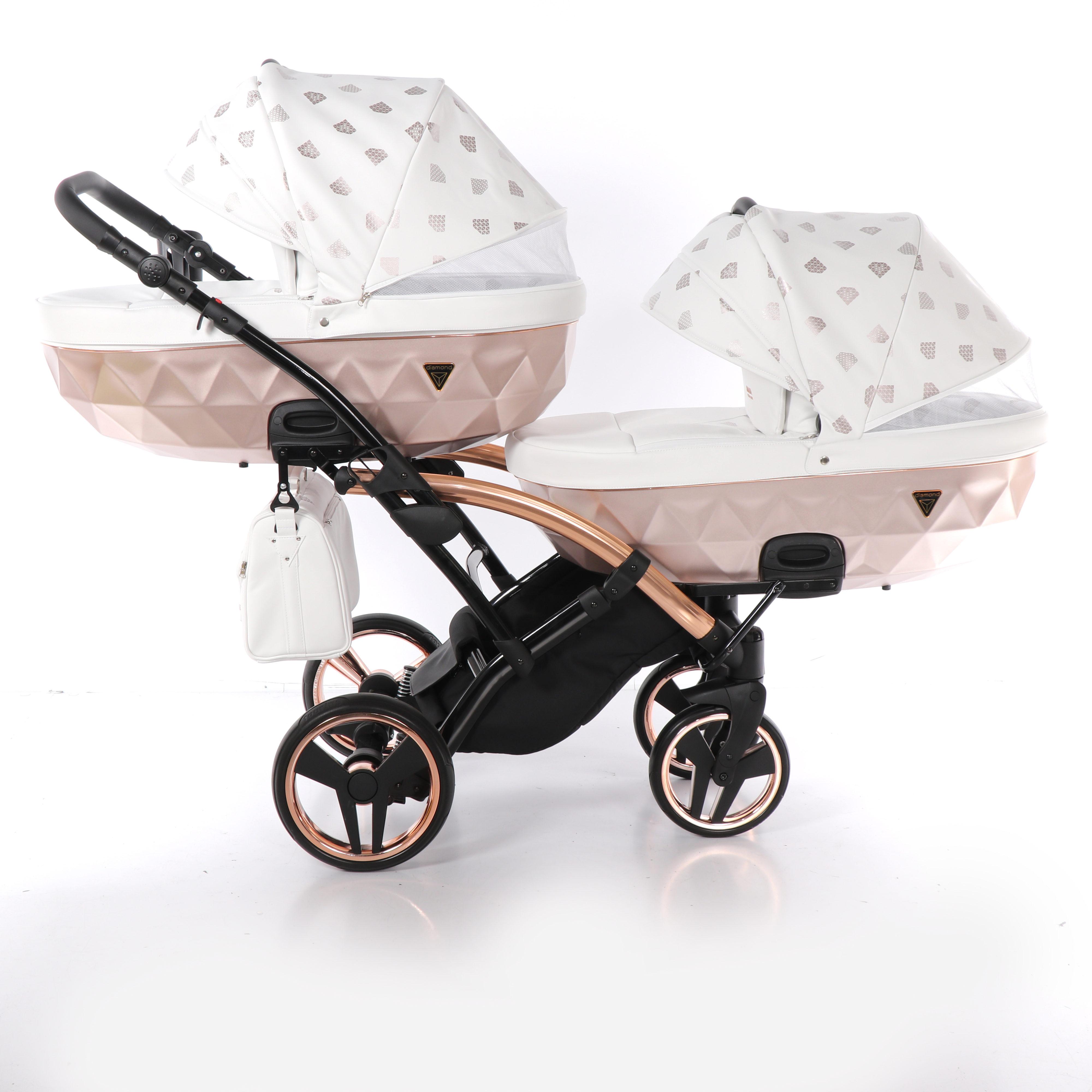wózek dzieciecy bliźniaczy Junama Glow Duo Slim wielofunkcyjny