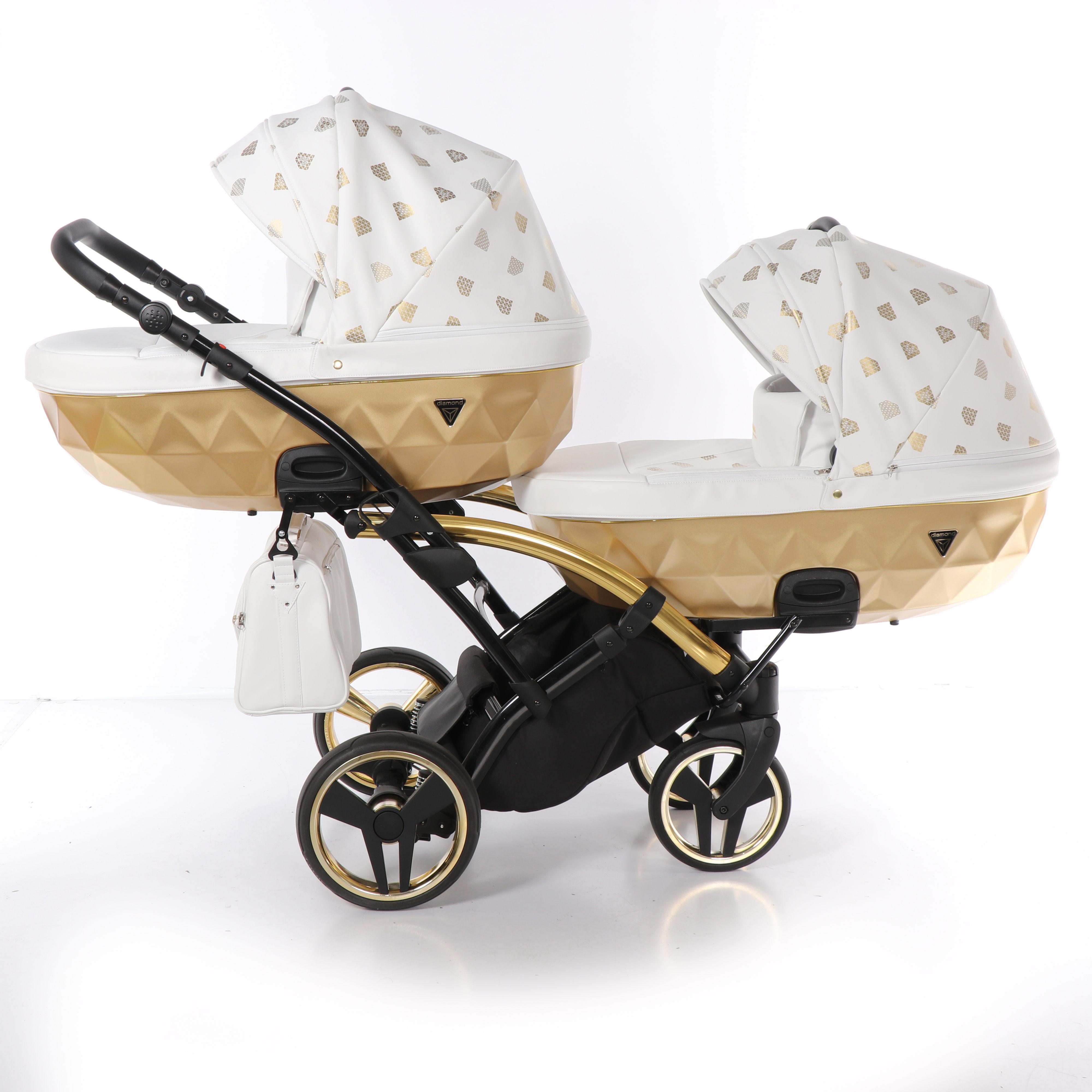 wielofunkcyjny wózek bliźniaczy Junama Glow Duo Slim złoty