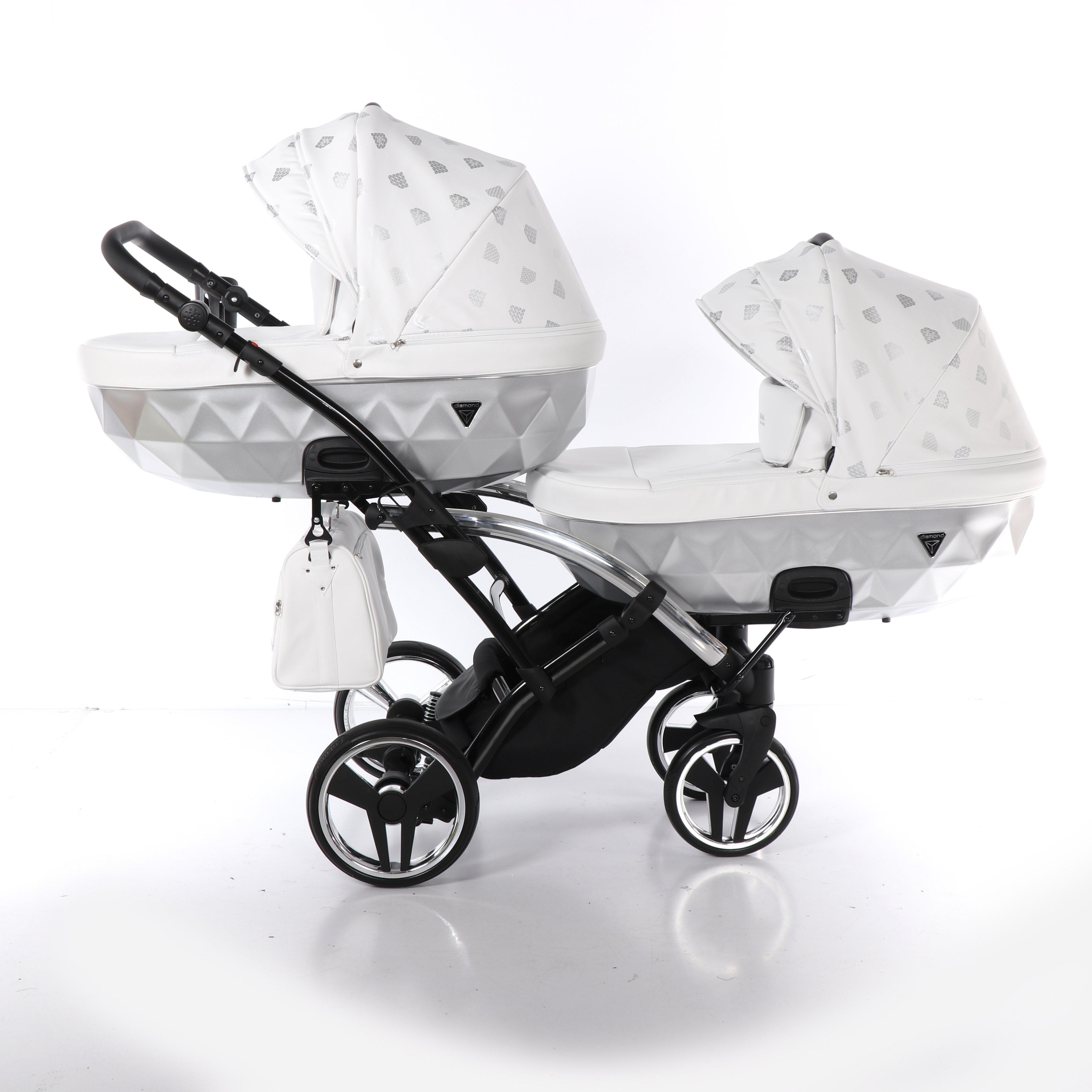 wielofunkcyjny wózek bliźniaczy Junama Glow Duo Slim srebrny