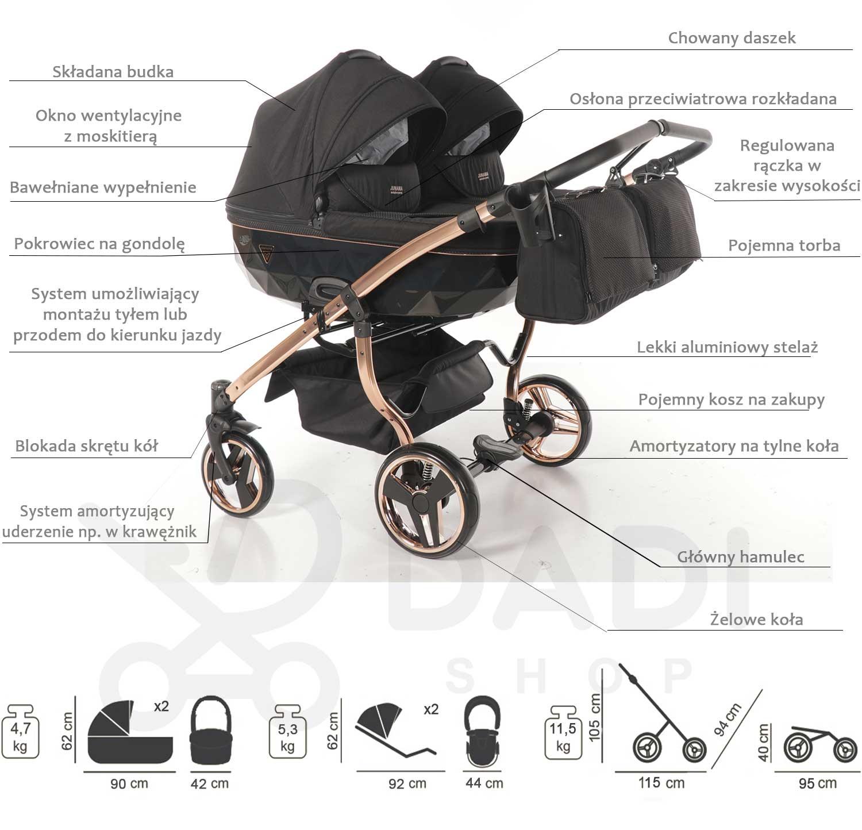 wózek bliźniaczy Junama Individual Duo opis dadi Shop