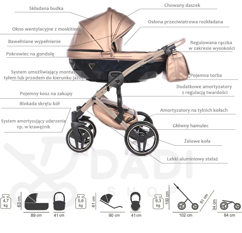 wielofunkcyjny Fluo Line Ii wózek dziecięcy Junama Dadi Shop
