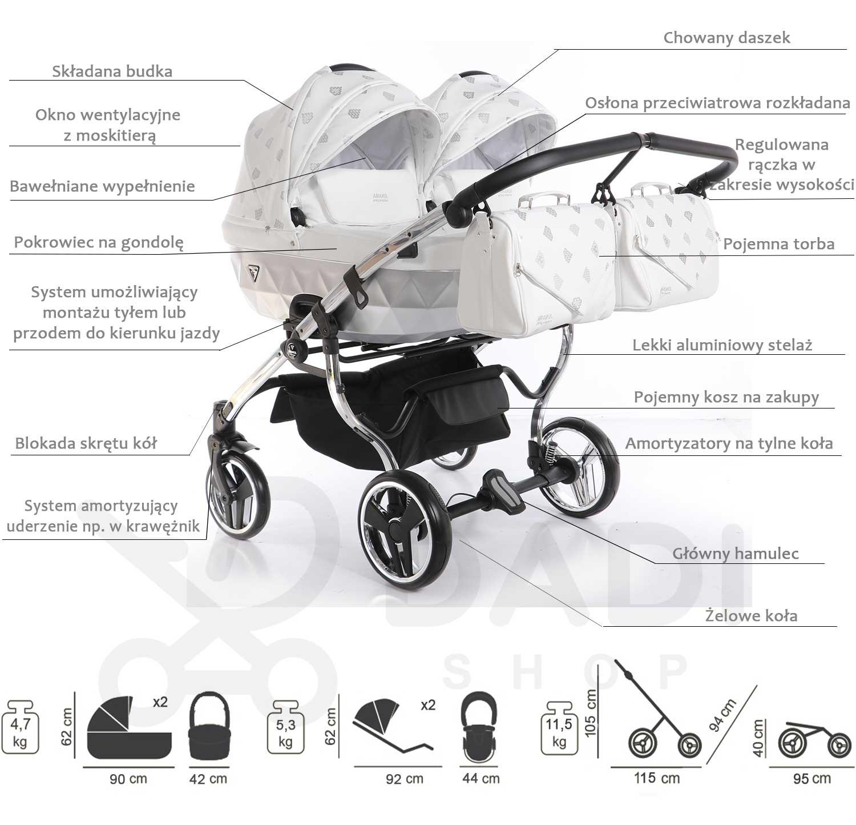 wózek bliźniaczy Glow Duo Junama opis wózka Dadi Shop