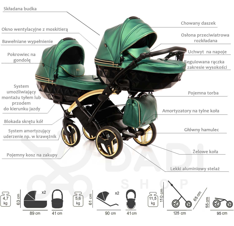 wózek bliźniaczy Junama Fluo Line Duo Slim opis Dadi Shop