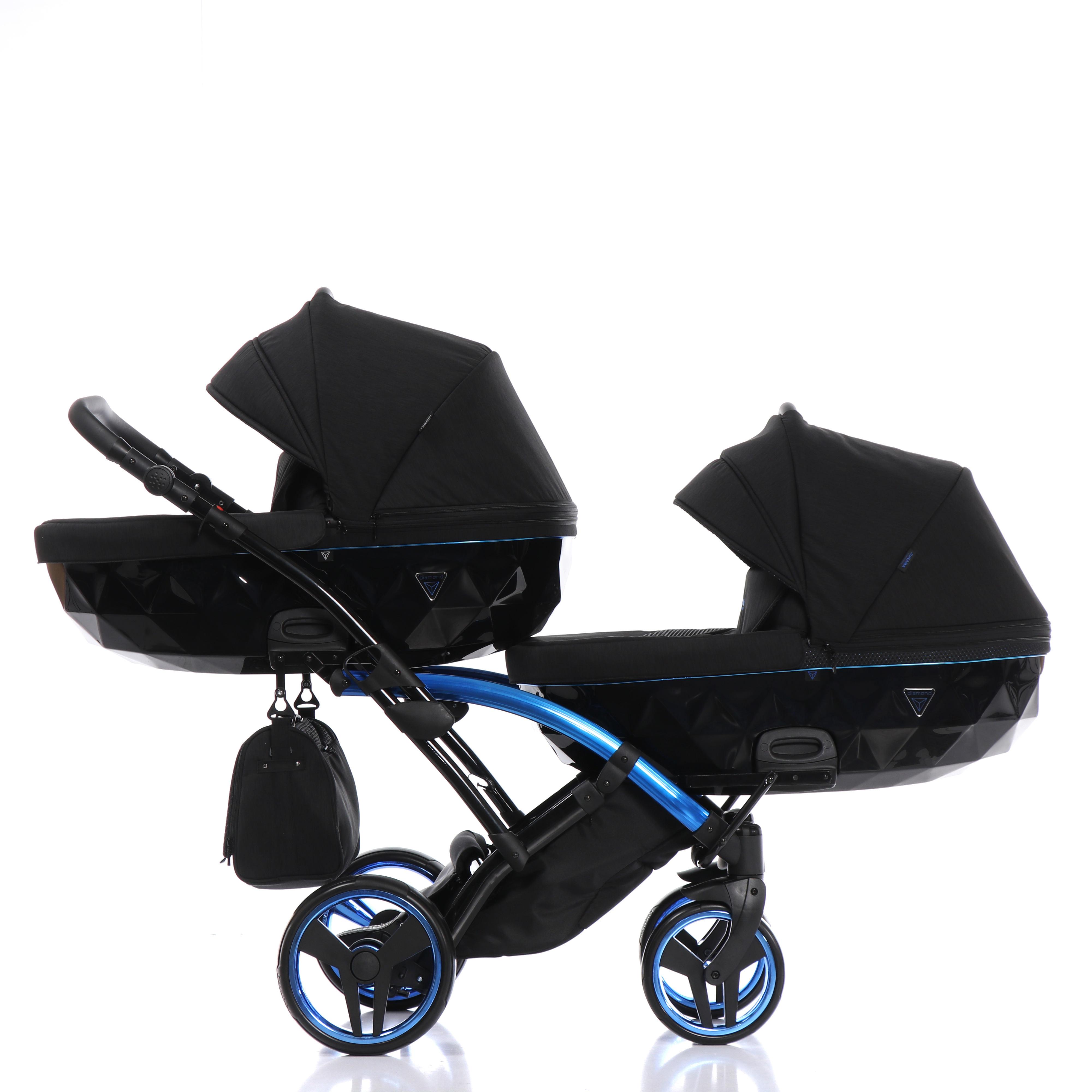 wózek blizniaczy Individual Duo Slim Junama niebieski