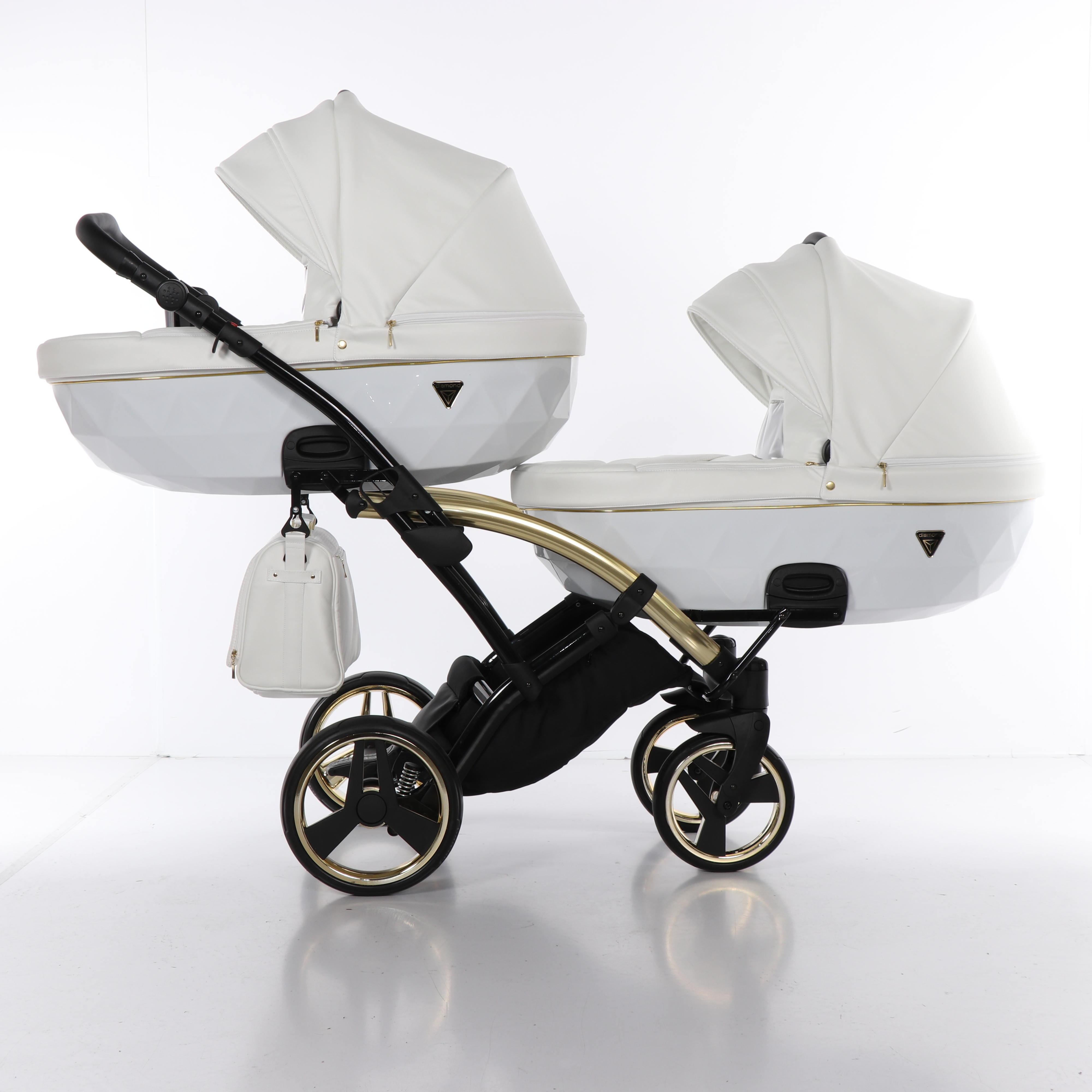 biało złoty wózek dziecięcy Junama Individual Duo Slim dla bliźniąt Dadi Shop