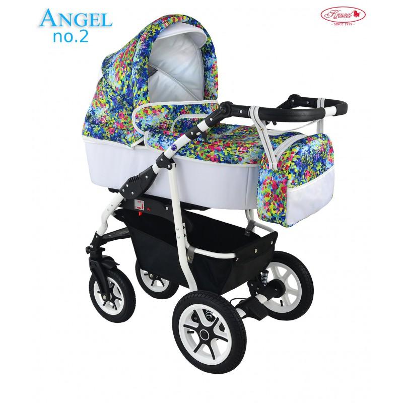 Angel Krasnal biały w kwiaty wózek dziecięcy