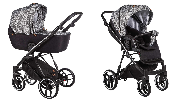 wózek dziecięcy La Rosa Baby Merc czarny wzór gondola i spacerówka