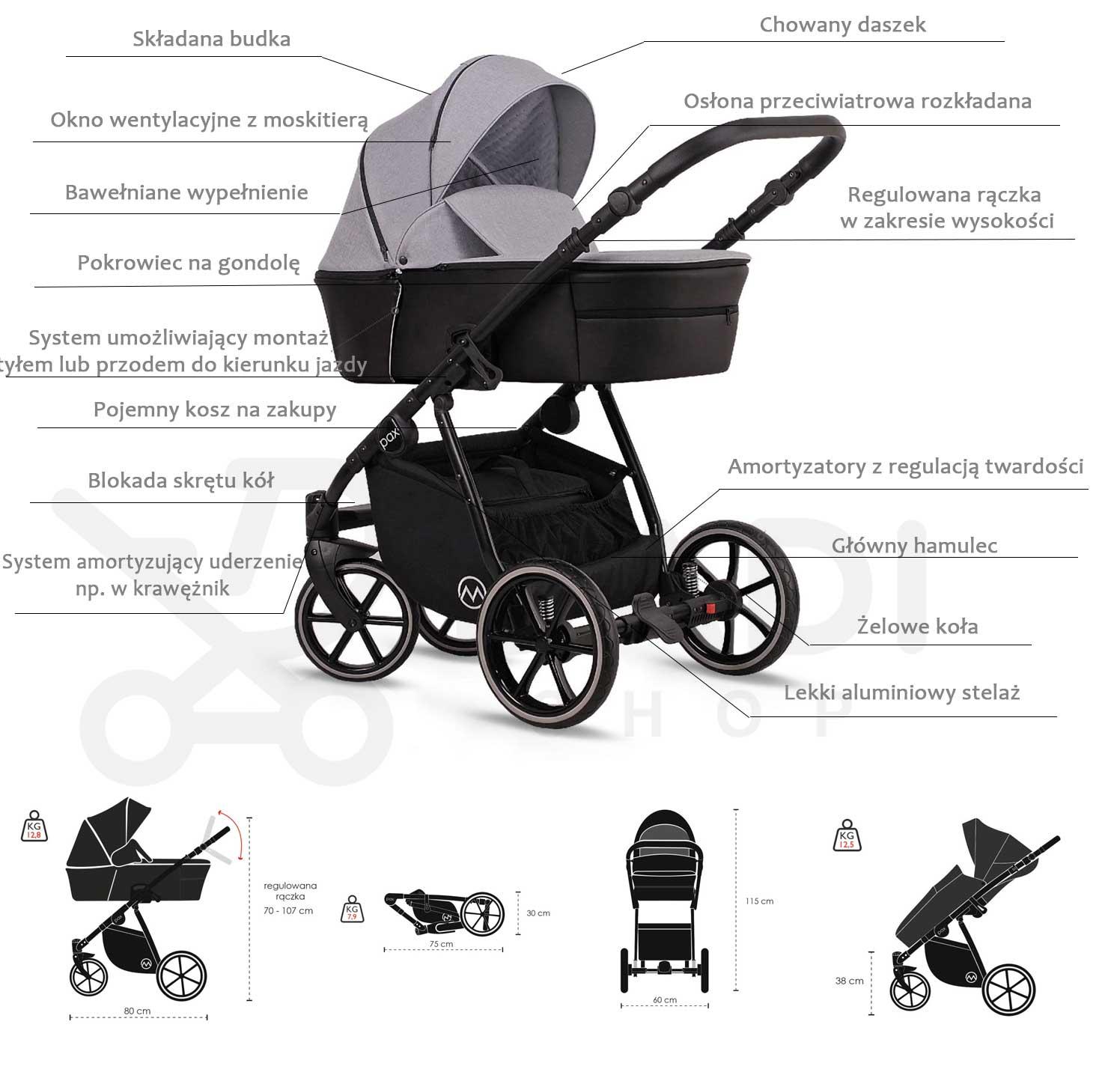 wózek dziecięcy wielofunkcyjny Lonex Pax opis specyfikacja