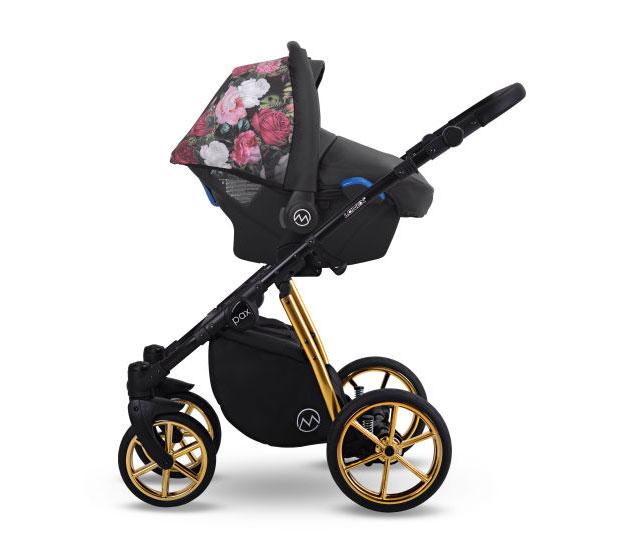 wózek dzieciecy Paź Rose wielofunkcyjny Lonex fotelik samochodowy 3w1 z kwiaty